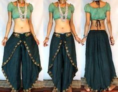 Gypsy Boho indian Harem Dancing Pants/Trousers by MissEthnic Tribal Fashion, Diy Fashion, Indian Fashion, Origami Fashion, Fashion Details, Fashion Design, Mode Outfits, Dance Outfits, Skirt Outfits