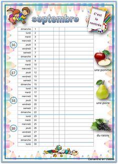CALENDRIERS 2019 2020 CP CE1 Aide, Recherche Google, Voici, Journal, Day Of Year Calendar, Weekly Calendar, Third Trimester, Preschool, Organisation