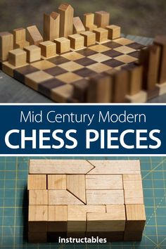 These mid century modern chess pieces have a minimalistic look and can actually be fit together to make a rectangle. Wood Shop Projects, Wood Projects That Sell, Woodworking Projects That Sell, Woodworking Crafts, Diy Chess Set, Chess Sets, Modern Chess Set, Christmas Wood Crafts, Diy Wood Signs