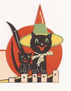 VINTAGE 1940's-50's Gibson HALLOWEEN Party Place Card