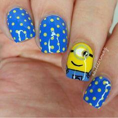 Minion and polka dot nails inspo
