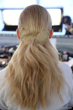 Multi-pin pull back, a great (+ fashion-forward) way to get a slicked back hairdo for a cocktail party or event