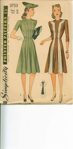 Vintage Sewing Pattern - 1940s Princess Dress - SIMPLICITY 3753
