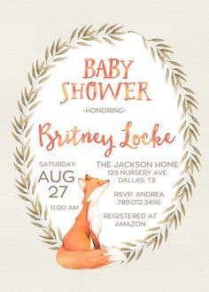Fox Baby Shower Invitation Printable Woodland by INVITEDbyAudriana
