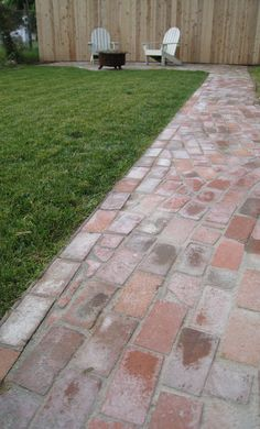 "Path from reclaimed brick - using Quickcrete as ""mortar"" to really set the bricks."