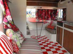 Retro red caravan interior - renovating a caravan like this?