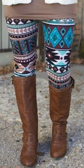 Turquoise Aztec Leggings totally compliment the boots Aztec Leggings, Tight Leggings, Leggings Are Not Pants, Print Leggings, Awesome Leggings, Pattern Leggings, Fall Winter Outfits, Winter Wear, Autumn Winter Fashion