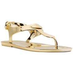 Michael Michael Kors Plate Jelly Thong Sandals ($59) ❤ liked on Polyvore featuring shoes, sandals, gold, toe thong sandals, metallic shoes, thong sandals, jelly thong sandals and toe thongs