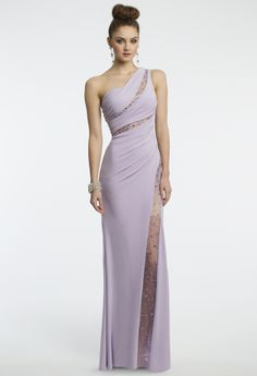 One Shoulder Beaded Illusion Insert Dress from Camille La Vie and Group USA
