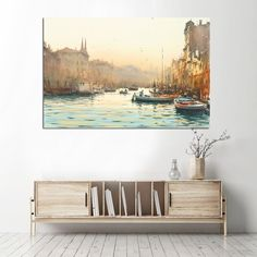 Πίνακας σε καμβά watercolor Venice - Ninesix.gr Bench, Watercolor, Storage, Furniture, Home Decor, Pen And Wash, Purse Storage, Watercolor Painting, Decoration Home