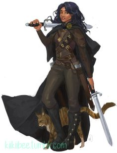 Rogue gear - female woman of color woc sword cloak - rakugaki - Commission for quentingeorge of his SO's rogue clothes fantasy rakugaki Black Characters, Dnd Characters, Fantasy Characters, Female Characters, Character Creation, Character Concept, Character Art, Character Ideas, Fantasy Inspiration