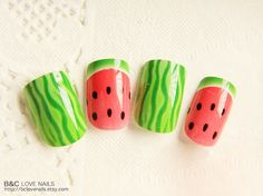 Ready to Ship Fake Nail Set   Watermelon  by bclovenails on Etsy, $7.99