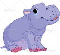 Cartoon Baby Hippo Boy - Animals Characters