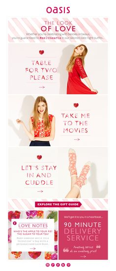 Valentine's Day email: outfit for different date scenarios
