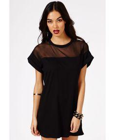Amara Mesh Panel T-Shirt Dress - Dresses - Jersey Dresses - Missguided