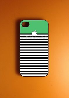 Iphone 4 Case - Green White Strip Iphone 4s Case, Iphone Case. $14.99, via Etsy.