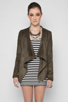 Drape Collared Faux Suede Jacket in Dark Olive $52 at www.tobi.com