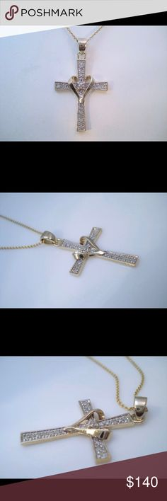 "Vintage  Sterling Silver Diamond cross necklace This is a very beautiful vintage yellow tone sterling silver diamond cross necklace he pendant it sets 13 round cut diamonds The chain is 18"" long 925 Jewelry Necklaces"
