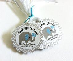 Gray Elephant Favor Tags in Chevron for Baby Shower or Birthday Boy by @adorebynat