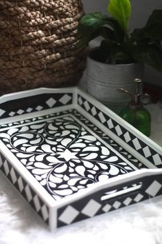 Beautiful DIY faux bone inlay tray Cityscape Bliss // creative home