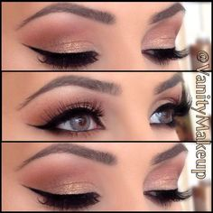 Filled in brows, pinks & golds on lids and heavy liner and lashes....