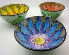 Majolica Pottery Bowl Clay Blue Purple by ClayLickCreekPottery