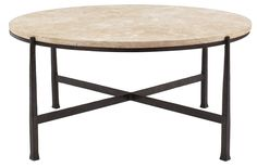 Round Metal Cocktail Table Base and Stone Top | Bernhardt