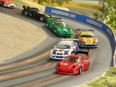 3 Lane Slot Car Track with Scenery