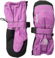 Hestra Youth Baby Zip Long Mitts, Cerise, 5. Windproof, waterproof and breathable Hestra micron/polyester fabric. Primaloft insulation offers soft, Down-Like polyester that is both warm, breathable and water resistant. Pull strap with Velcro closure. Side zipper for easy on and off. Scotch lite reflective logo.