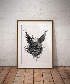 Harry Potter Cursed Child Watercolor Print Black White Fan Art Wall Art Geekery