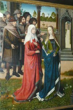 Lucia van Syracuse - Lucia bezoekt met haar moeder graf van Sint Agatha. 1480, paneelschildering. België, Brugge, St-Jacobs.
