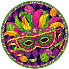 """Amazon.com: Custom & Unique {7"""" Inch} 8 Count Multi-Pack Set of Medium Size Round Disposable Paper Plates w/ Happy Mardi Gras Feathered Mask Celebration Party Event """"Purple, Yellow, Green & Pink Colored"""": Kitchen & Dining"""