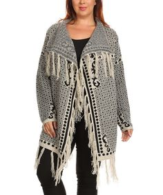 Take a look at this BellaBerry USA Beige & Black Geo Tassel Open Cardigan - Plus today!