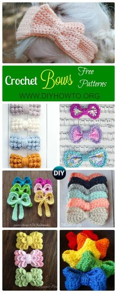 Collection of different ways to Crochet Bow Free Pattern: bobble stitch bow, crocodile stitch bow, easy bow handband and more via @diyhowto