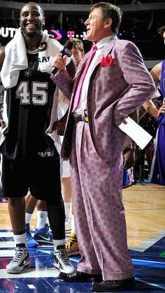 Craig Sager and Forward DeJuan Blair #45 of the San Antonio Spurs