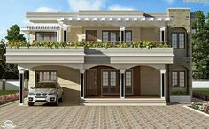 Flat Roof House Designs, House Balcony Design, House Outside Design, Modern Exterior House Designs, Village House Design, Kerala House Design, Bungalow House Design, House Front Design, Terrace Design