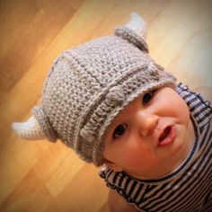 Crochet viking baby hat.