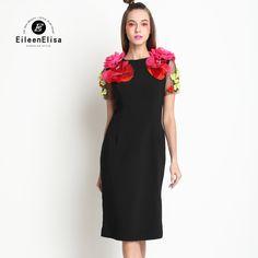 Runway Black Dress Women Elegant Vintage 2017 Flower Appliques Dresses Women Luxury