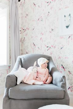 Adorable little girl's room: http://www.stylemepretty.com/living/2016/06/20/enviable-wallpaper-that-will-take-your-baby-from-tot-to-teen/ | Photography: Elza Photographie - http://www.elzaphotographie.com/