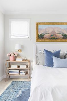 pastel-inspired blue, white, and pink bedroom
