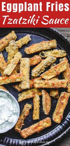 BAKED Eggplant Fries w/ Greek Tzatziki Sauce - These simple BAKED eggplant fries are perfect as a side dish or a snack! I love serving them with a side of Greek Tzatziki sauce! Side Dish Recipes, Veggie Recipes, Vegetarian Recipes, Cooking Recipes, Dinner Recipes, Eggplant Side Dishes, Eggplant Recipes, Baked Eggplant Fries, Greek Side Dishes