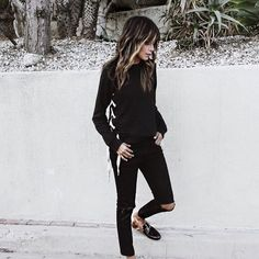 17.01.17 All black.  / wearing new Harper side lace up sweatshirt @shop_sincerelyjules shopsincerelyjules.com
