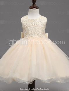 Ball Gown Knee-length Flower Girl Dress - Organza Sleeveless Jewel with Bow(s) 2017 - £23.75