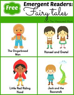 Homeschool for high school FREE Fairy Tale Emergent Readers - 4 books with simple text and great pictures -- click through and find links to 7 more sets of FREE books for new readers! Emergent Literacy, Emergent Readers, Kindergarten Literacy, Early Literacy, Literacy Activities, Teaching Themes, Preschool Class, Reading Activities, Nursery Rhymes Preschool