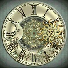 Celestial Sun and Moon Large Wall Clock by Specialeetees - CafePress Clock Face Printable, Moon Icon, Clock Art, Clocks, Mosaic Pictures, Sun Moon Stars, Wall Clock Design, Cross Paintings, Moon Art