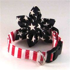 Dog collar and collar flower set:  red and white striped collar with navy blue and star print flower http://www.littledogfashion.com/Dog-Collar-Flower-Sets-Patriotic-Stars-and-Stripes-p/collarflower-set-stars-stripes.htm