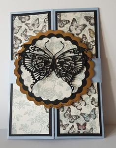 Pop up gatefold card with closure band. Papers are Craftwork Cards Butterfly Parade and butterfly is a Tattered Lace die. Craftwork Cards, Butterfly Crafts, Butterfly Kisses, I Card, Handmade Cards, Greeting Cards, Paper Crafts, Closure, Pop