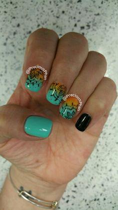 Ombre mandala nails. Ohm
