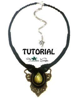 TUTORIAL  Black boho macrame necklace  Labradorite baroque