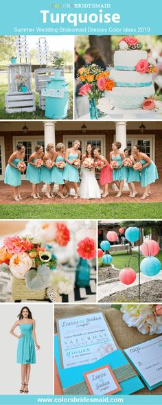 Turquoise short bridesmaid dresses for romantic Summer Wedding color palettes 2019 great with wedding cakes flowers and decorations in coral and orange accent color. Diy Wedding Reception, Cool Wedding Cakes, Wedding Cake Toppers, Wedding Table, Our Wedding, Wedding Coral, Wedding Orange, Wedding Shit, Wedding Dreams